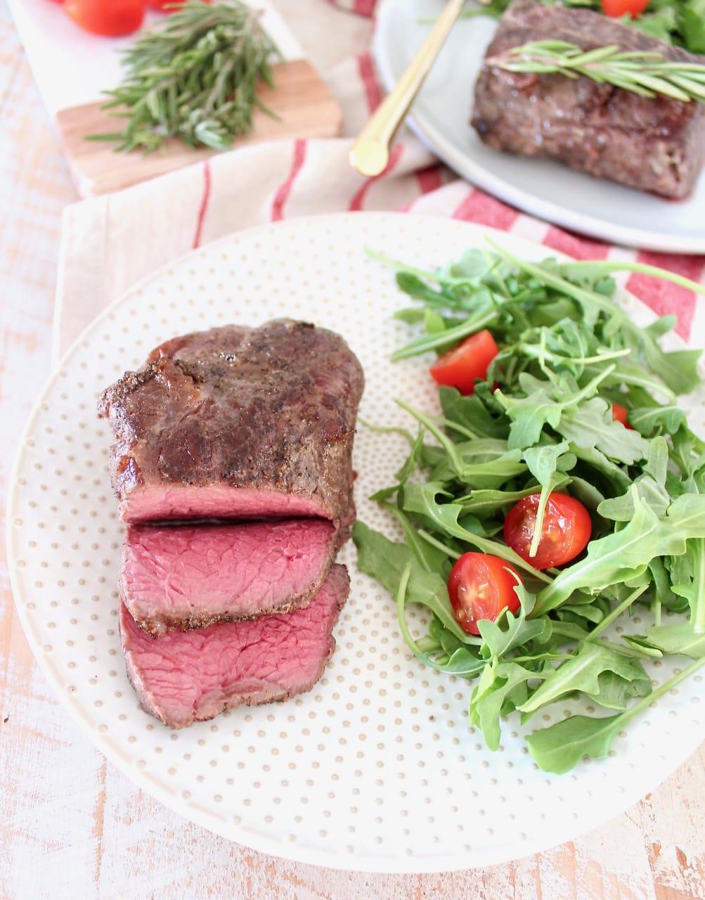 Medium Rare Sous Vide Sirloin Steak with Arugula Tomato Salad