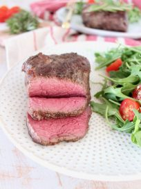 Medium Rare Sliced Sous Vide Steak Recipe with Side Salad
