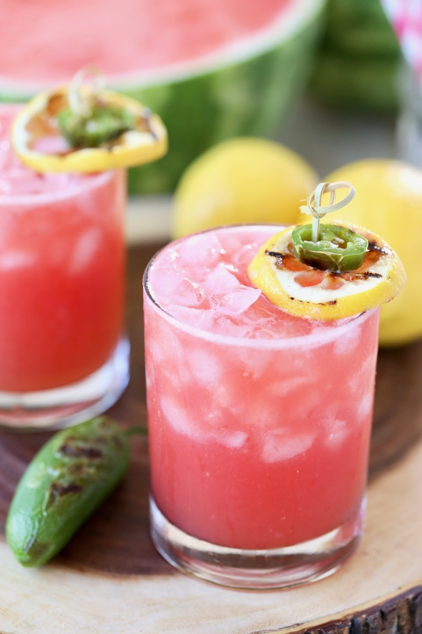 Watermelon Margarita Recipe with Grilled Jalapeno and Grilled Lemon Slice