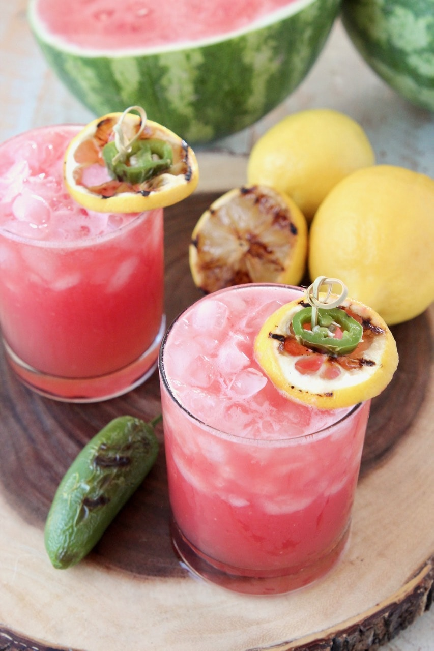 Watermelon Jalapeno Margarita with Grilled Lemons and Grilled Jalapenos