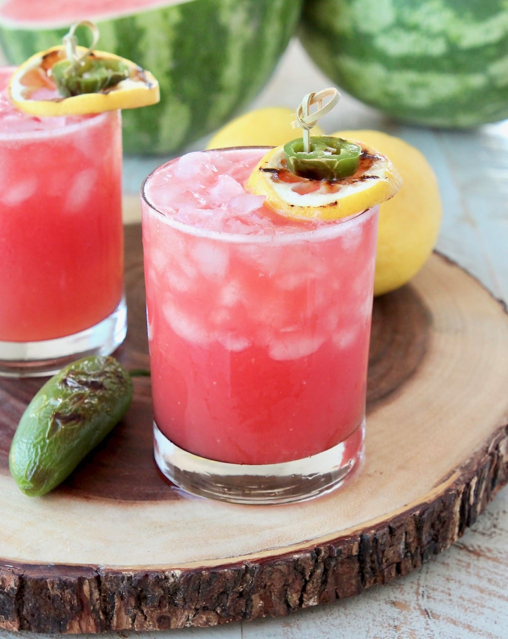 Watermelon Margaritas on the rocks with Grilled Jalapenos and Lemons