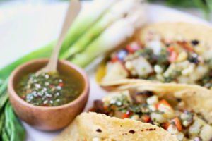 Vegan and gluten free Grilled Veggie Chimichurri Tacos