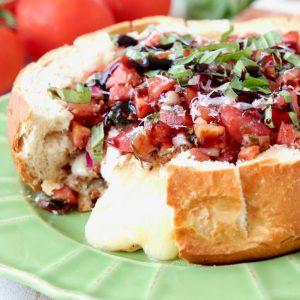 Tomato Basil Bruschetta Baked Brie Bread Bowl
