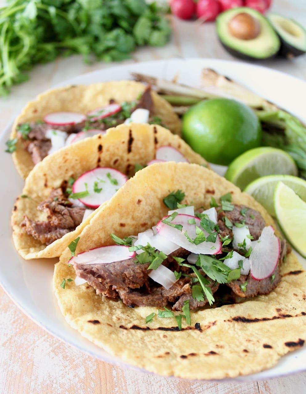 Carne Asada Tacos with Cilantro, Onion and Radish