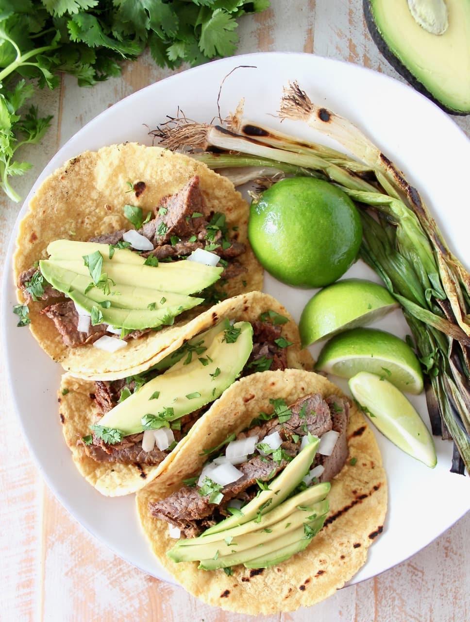 Carne Asada Taco Recipe with Fresh Limes, Avocado and Onions