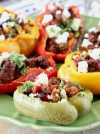 Grilled Chorizo Stuffed Bell Peppers with Cotija Cheese and Cilantro