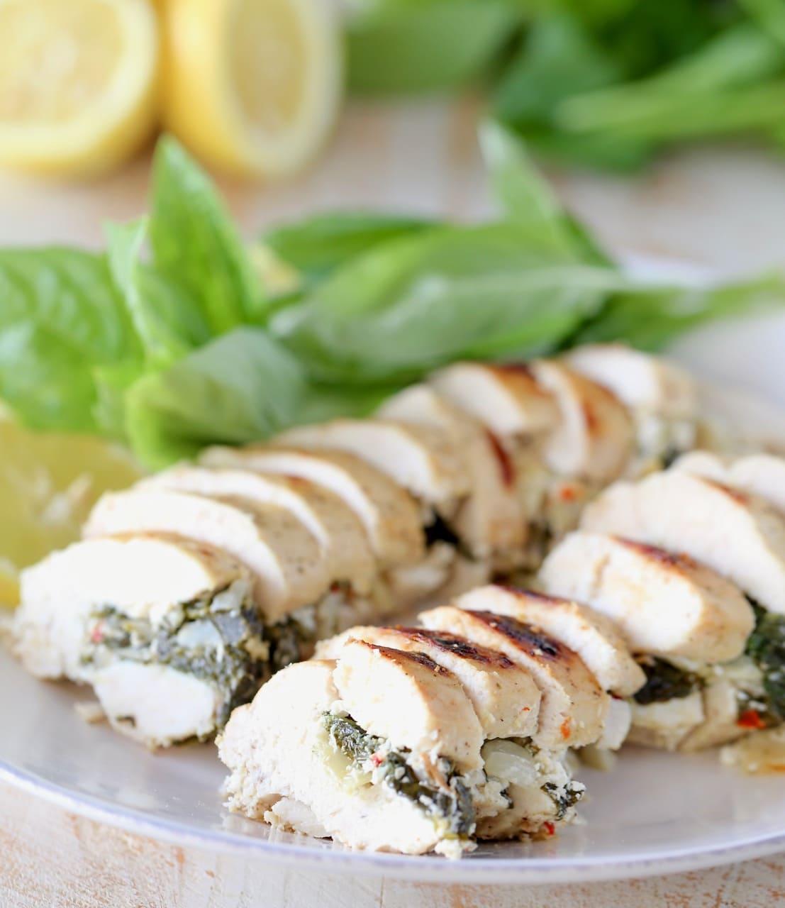 Sliced Spinach Artichoke Stuffed Chicken Breasts