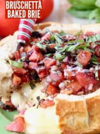 tomato basil bruschetta in sourdough bread bowl with melty brie cheese