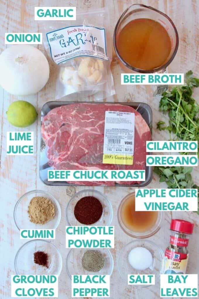 Ingredients for beef barbacoa