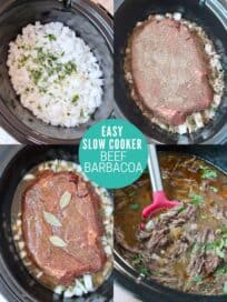 collage of images showing how to make shredded beef barbacoa