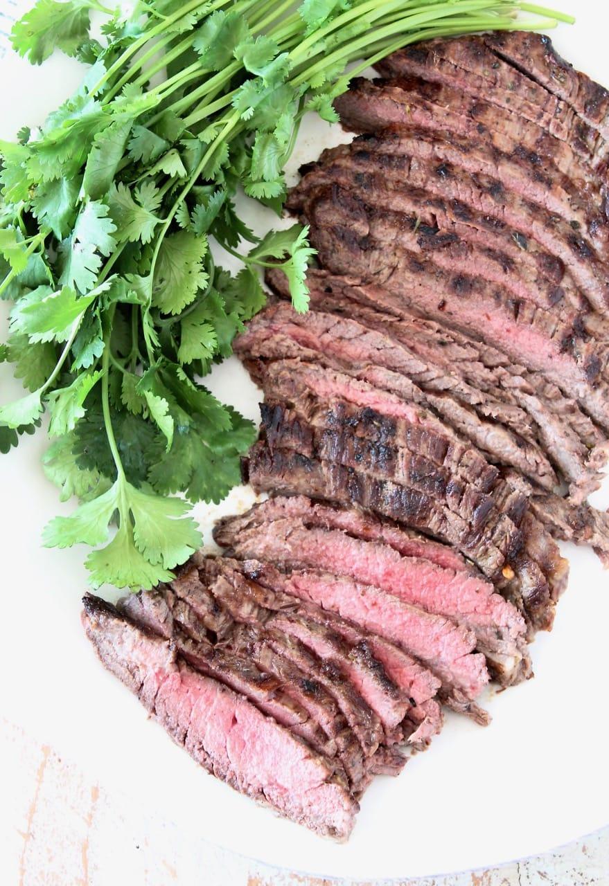 Grilled Sliced Cajun Marinated Skirt Steak with Fresh Cilantro