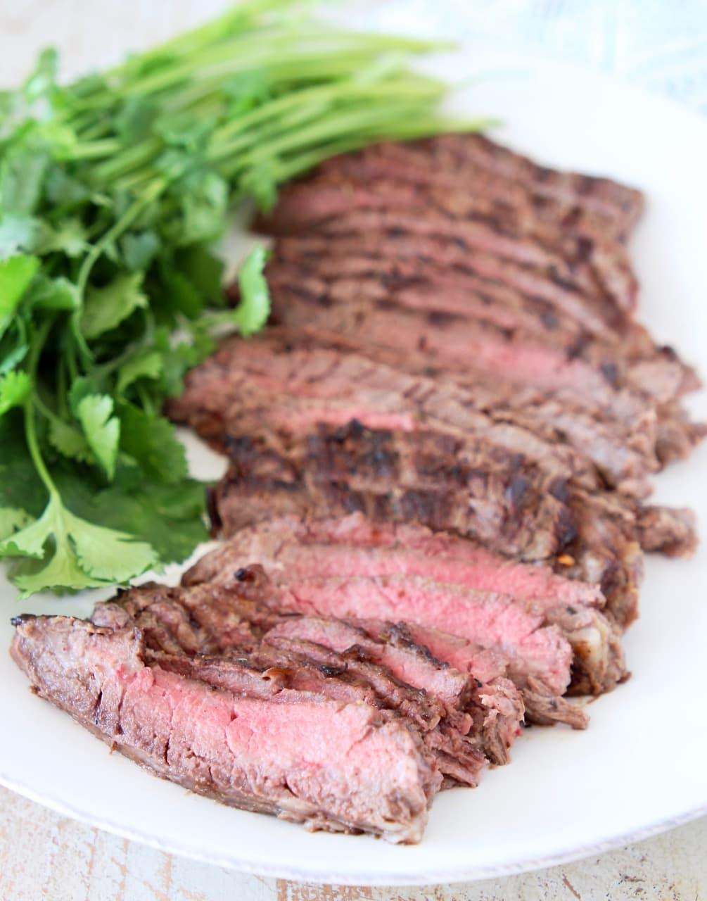 Sliced Grilled Cajun Skirt Steak with Fresh Cilantro