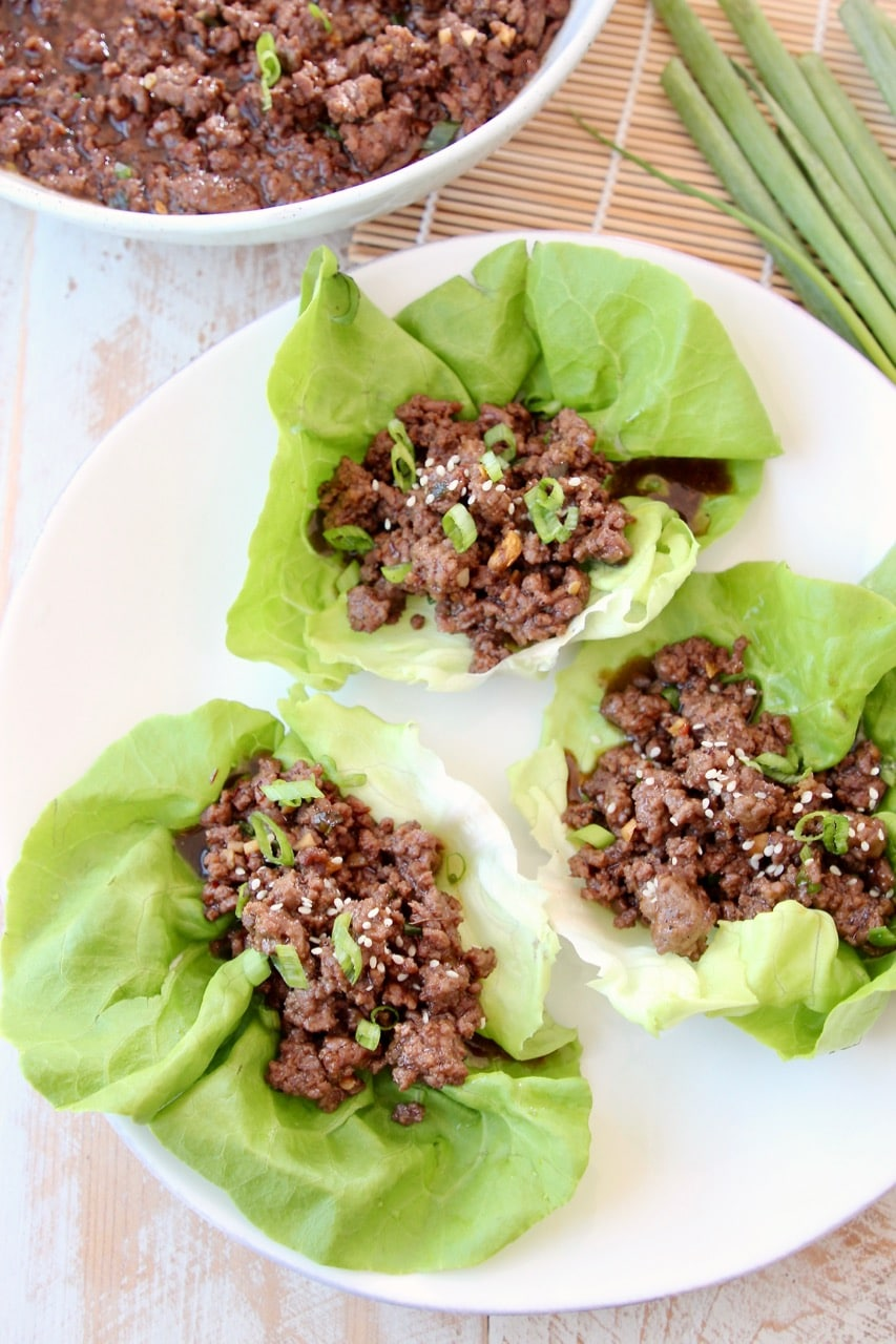 Korean BBQ Beef Lettuce Wraps with Butter Lettuce
