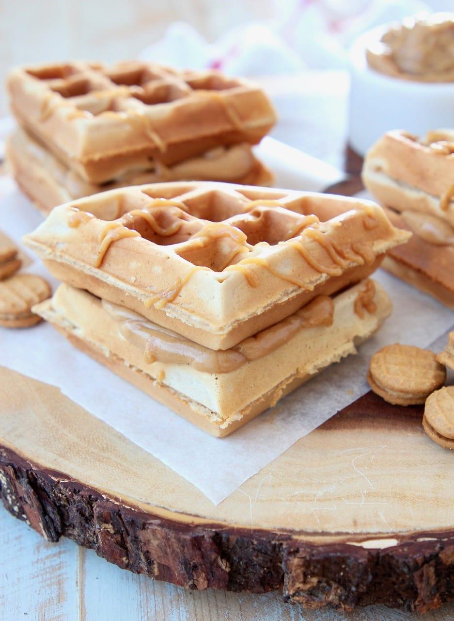 Peanut Butter Waffle Sandwich with Creamy Peanut Butter Filling