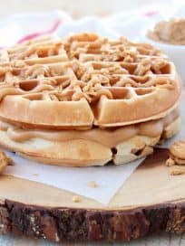 Peanut Butter Waffles with Creamy Peanut Butter Filling and Peanut Butter Syrup