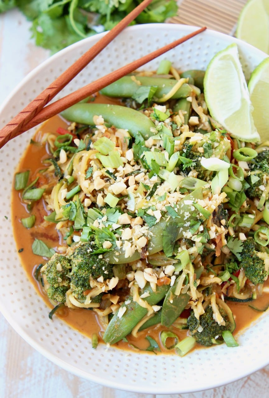 Vegan Pad Thai with Zucchini Noodles, Sugar Snap Peas, Crushed Peanuts and Scallions