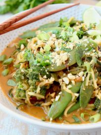 Vegan Pad Thai with Zoodles, Sugar Snap Peas, Peanuts, Scallions and Limes