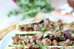 Greek Turkey Stuffed Zucchini | Gluten Free | Keto | Whole 30