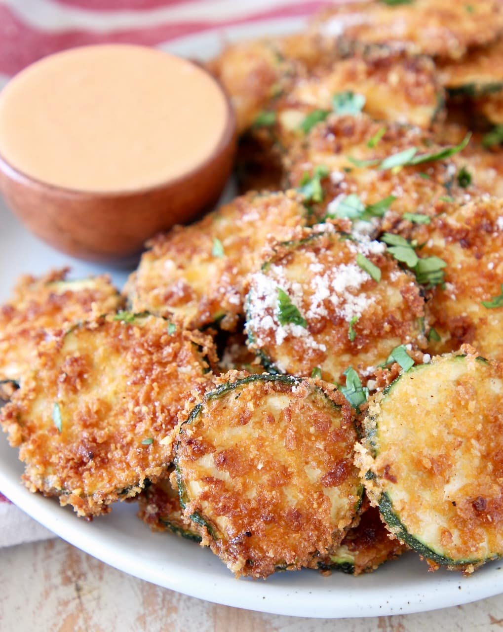 Crispy Fried Zucchini Chips with Parmesan Cheese and Buffalo Blue Cheese Sauce