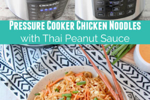 Pressure cooker chicken noodles with thai peanut sauce collage with text overlay