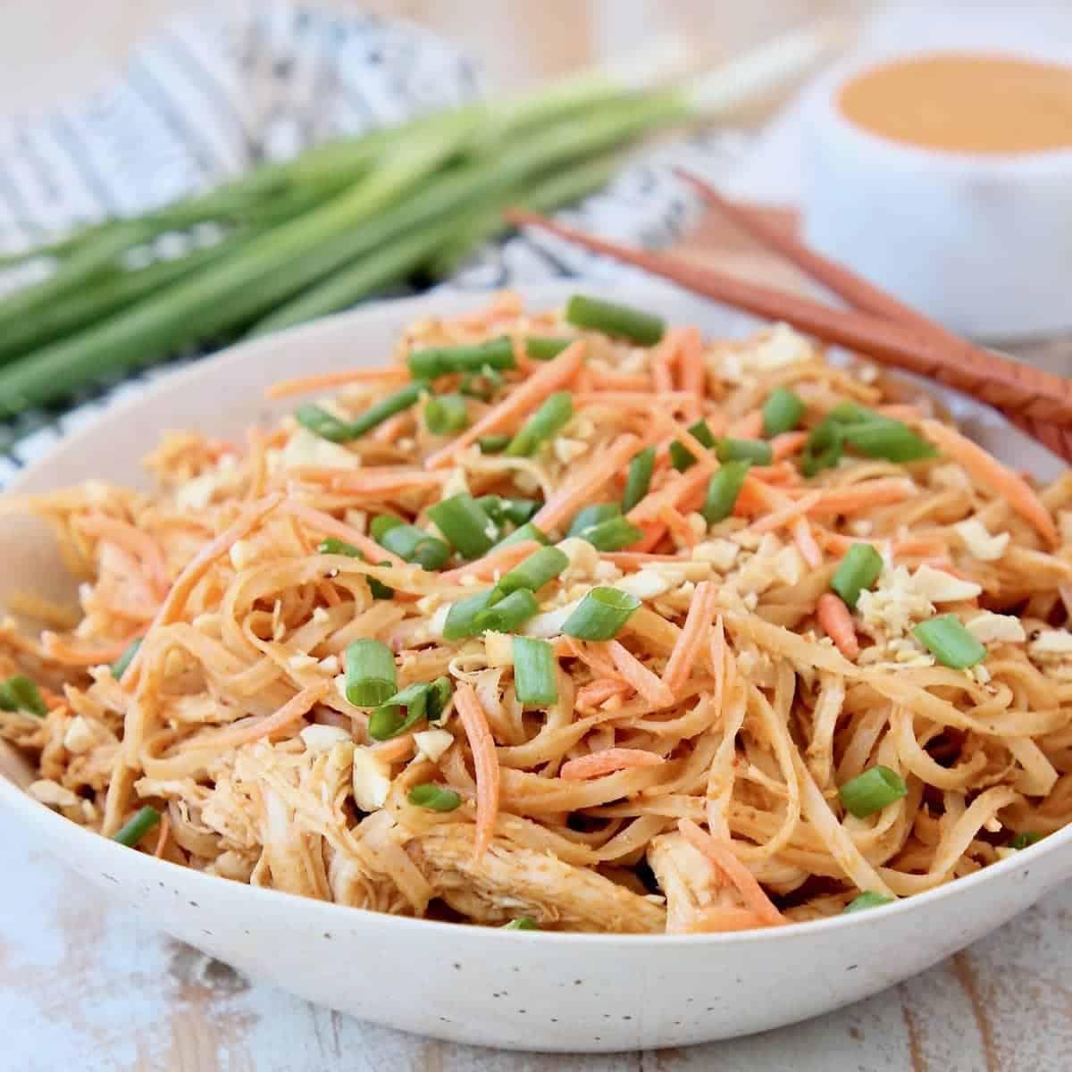 pressure cooker chicken noodles with thai peanut sauce