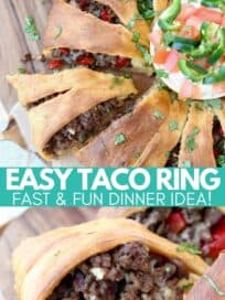 Crescent roll wrapped ground beef taco ring on wood serving board