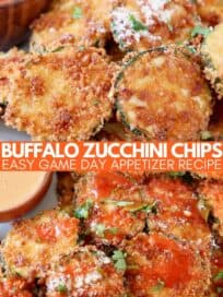 crispy zucchini chips piled up on plate