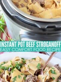 beef stroganoff with thick egg noodles in an instant pot and white serving bowl
