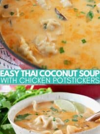 thai coconut potsticker soup in pot with serving spoon and in bowl