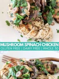 Sliced chicken breast on plate topped with sliced mushrooms and spinach