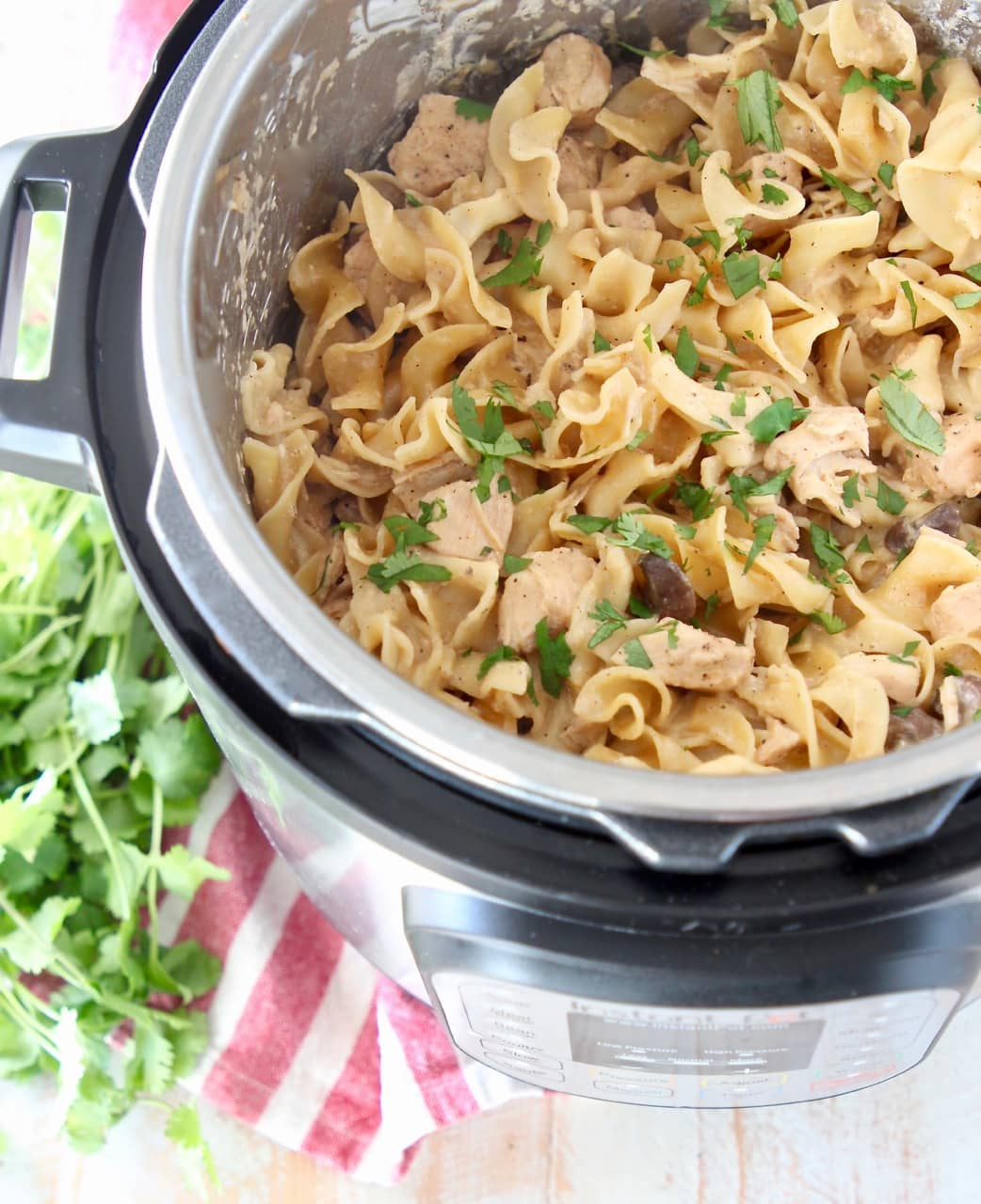 Chicken stroganoff with egg noodles in an Instant Pot, topped with fresh parsley