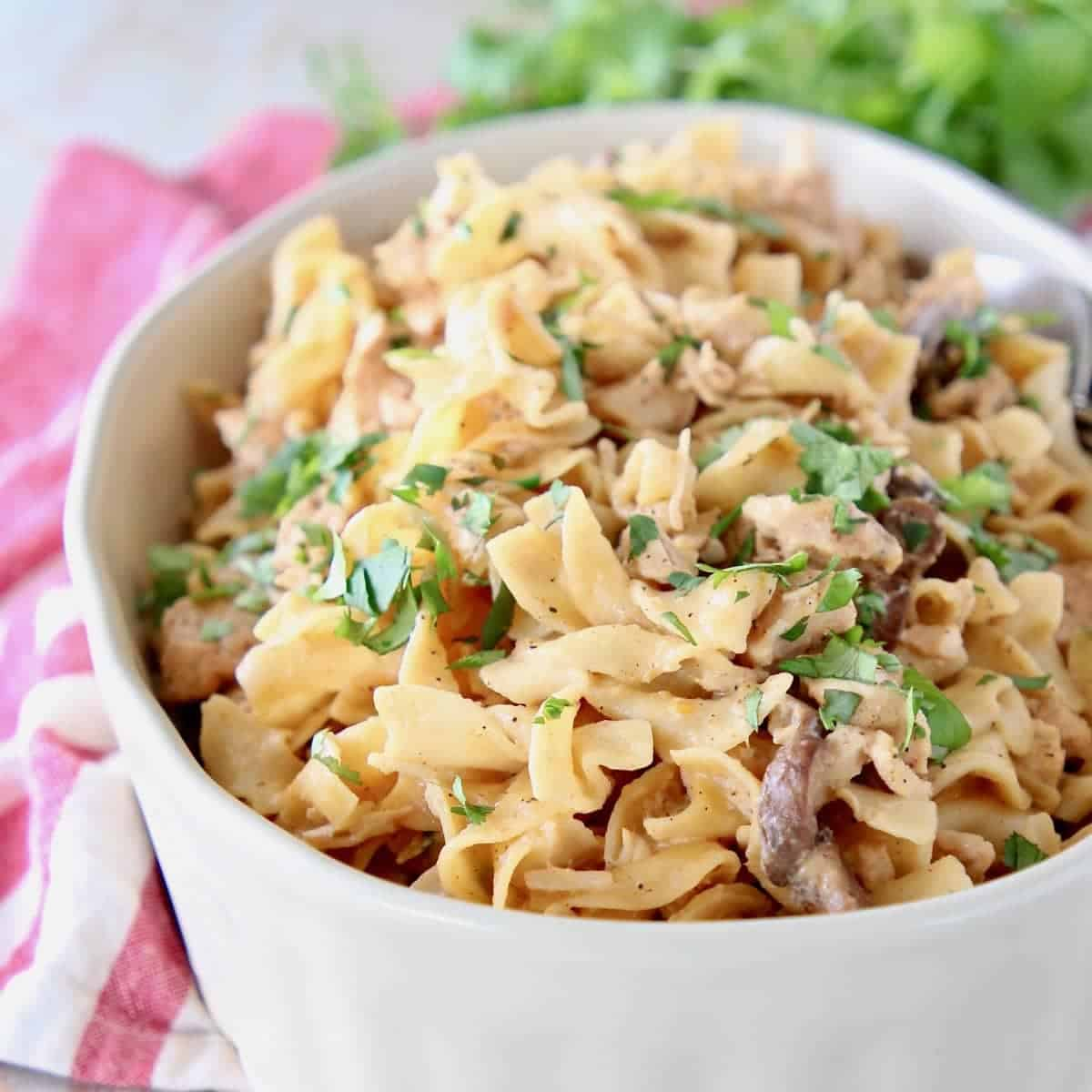 Chicken stroganoff with egg noodles in oval casserole dish with fresh parsley