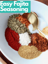 Image of fajita seasoning spices in bowl with spoon, with text overlay