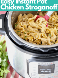 Image of chicken stroganoff in Instant Pot with text overlay