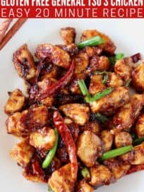 general tso's chicken with red chilies and scallions on plate