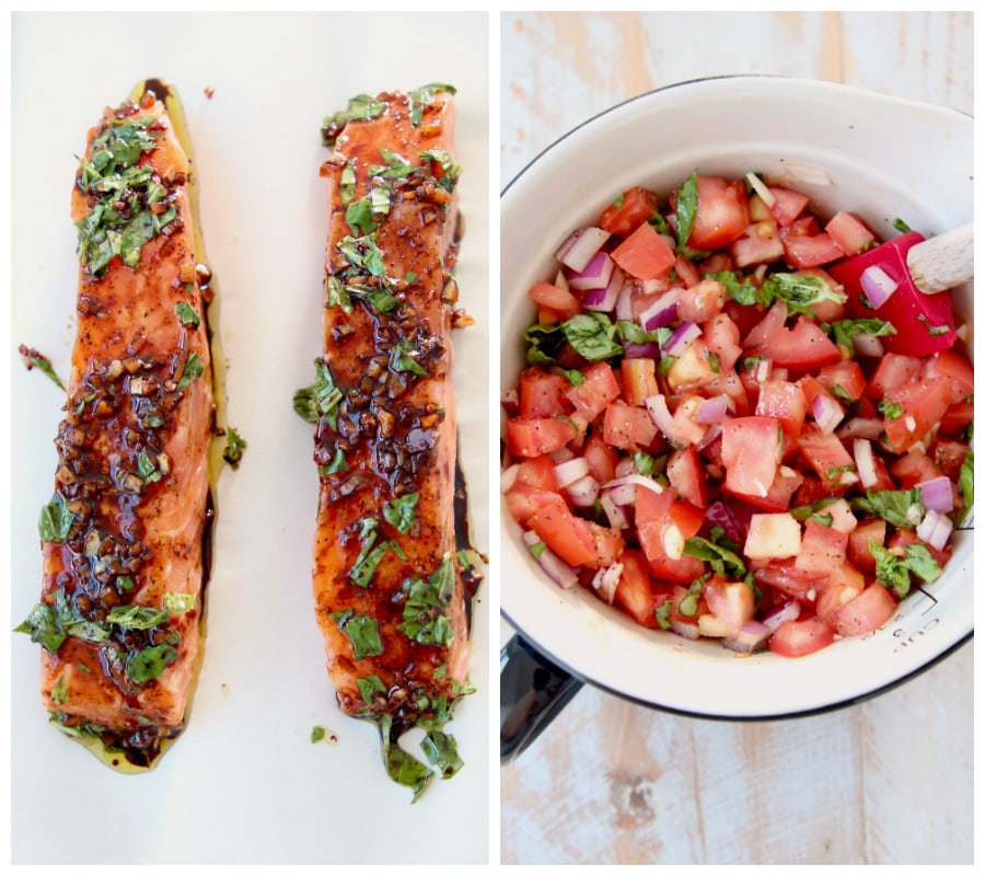 Overhead shot of balsamic glazed salmon on parchment paper, next to image of tomato basil bruschetta in a bowl