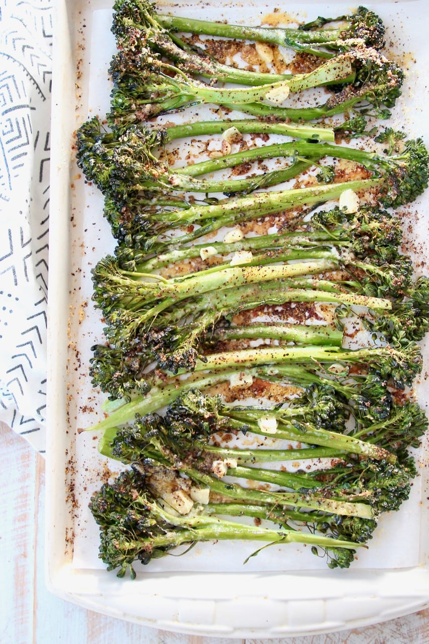 Roasted broccolini on baking sheet