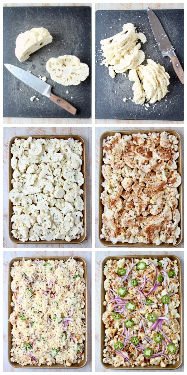 Instructional images for how to make cauliflower nachos