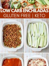 collage of images showing how to make zucchini enchiladas