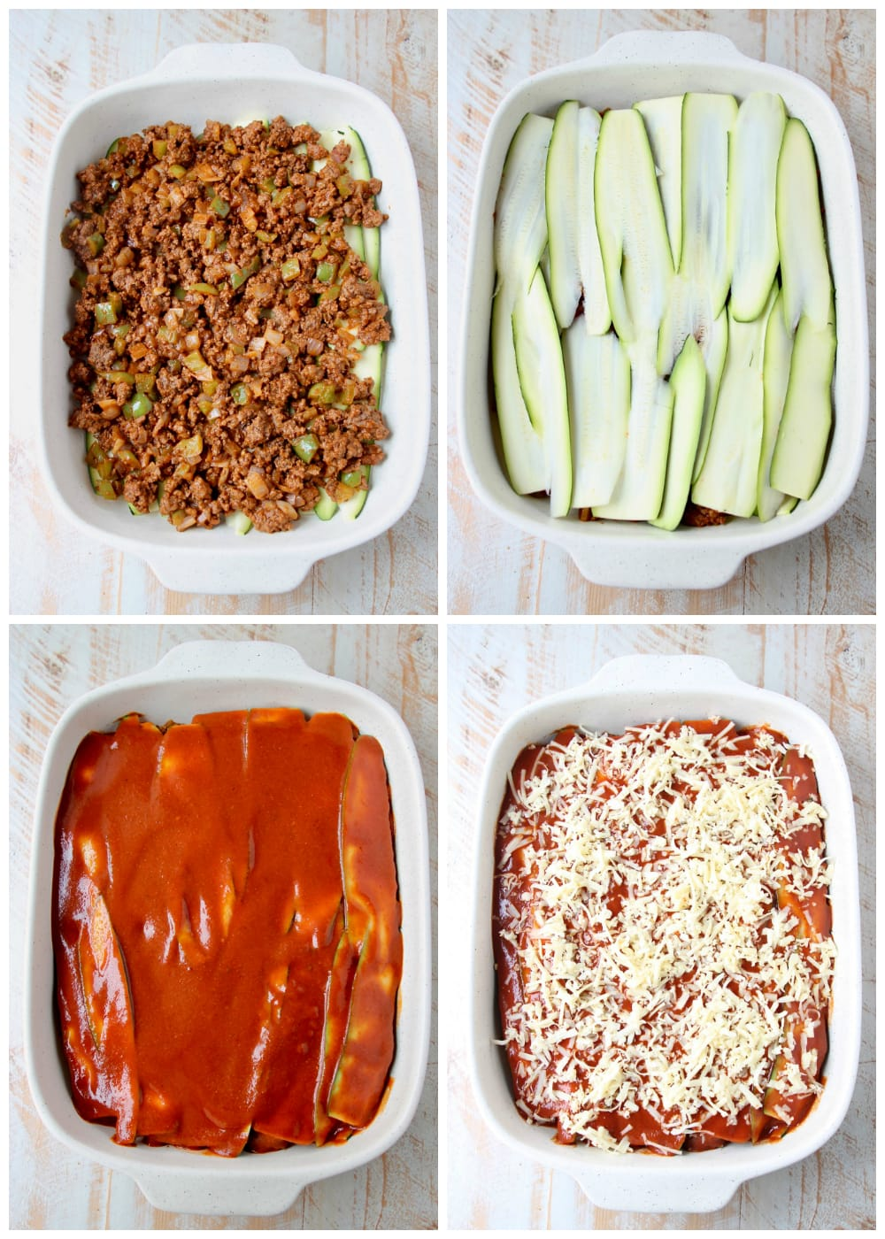 Instructional images of how to make low carb zucchini enchiladas with ground beef and red sauce