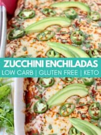 enchiladas in baking dish topped with sliced jalapenos and avocado