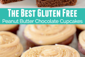 Gluten free chocolate cupcakes cut in half with peanut butter filling and peanut butter frosting