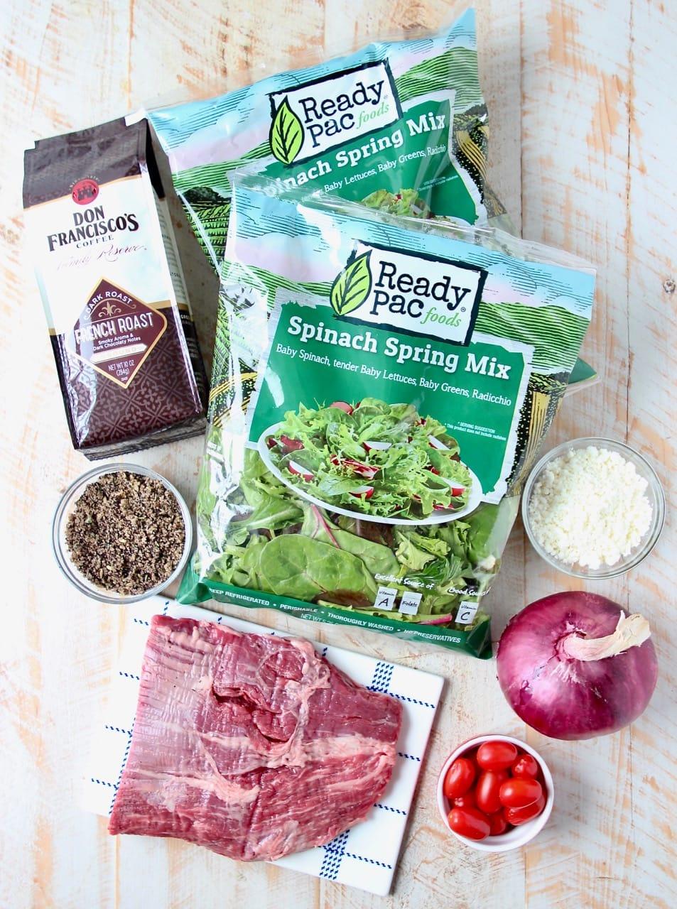 Ingredients for a steak salad