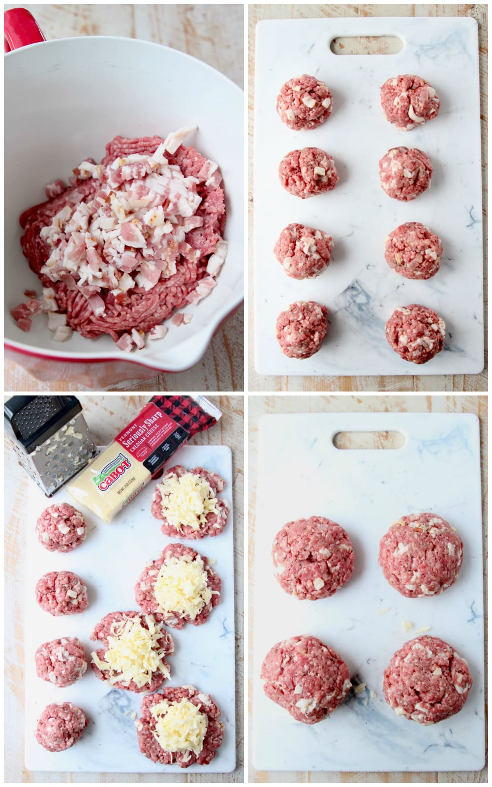 Juicy lucy burger instructional images collage