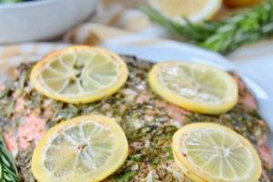 Lemon rosemary salmon on plate