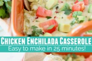 Mexican quinoa casserole in orange casserole dish with wooden spoon
