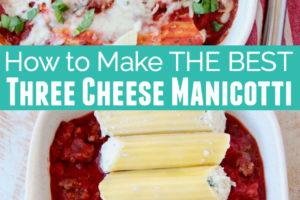 Cheese manicotti in baking dish with marinara sauce