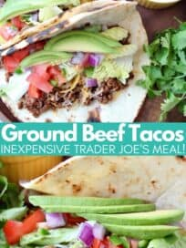Ground beef tacos with sliced avocado and diced tomatoes