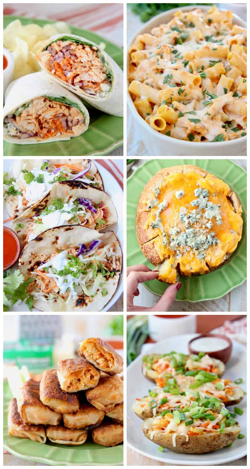 Collage of recipes with buffalo chicken