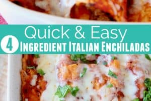 Italian enchiladas in baking dish covered in melted mozzarella cheese